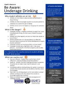 TIP 5 Coach's Resources edits Underage Drinking 10.15.19